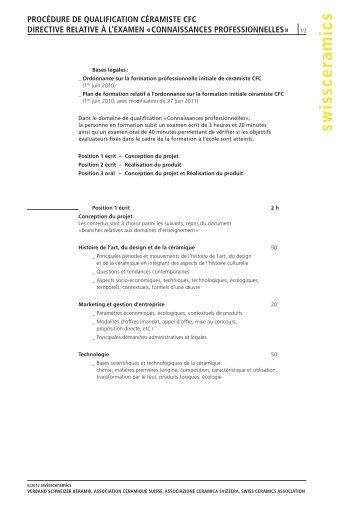 CONNAISSANCES PROfESSIONNEllES » 1/2 - Swissceramics