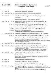 2. Abitur 2011 Wernher-von-Braun-Gymnasium Terminplan für ...