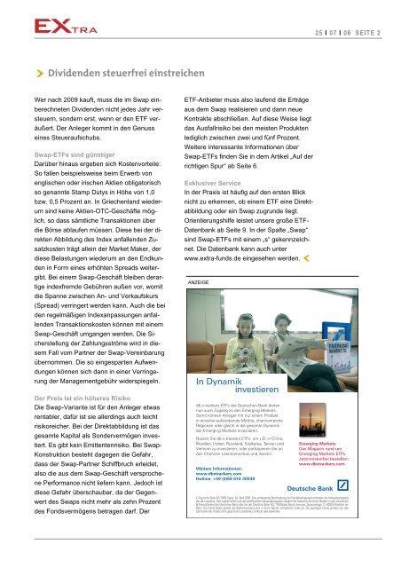 Dividenden steuerfrei einstreichen - EXtra-Magazin