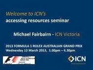 Michael Fairbairn, Resources Program Manager - ICN