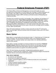 Federal Employee Program (FEP) - Regence BlueShield