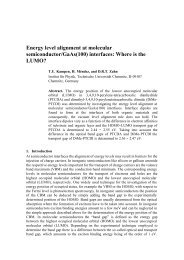 Energy level alignment at molecular semiconductor/Gaas(100 ...