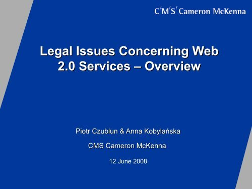 Legal Issues Concerning Web 2.0 Services – Overview