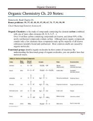 Organic Chemistry Ch. 20 Notes - Moorpark College