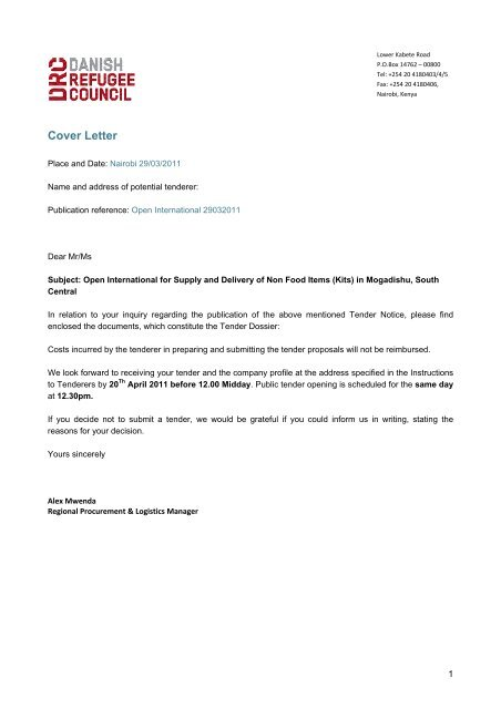 Cover Letter - Danish Refugee Council