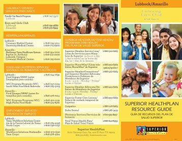 SUPERIOR HEALTHPLAN RESOURCE GUIDE - Fostercare Texas