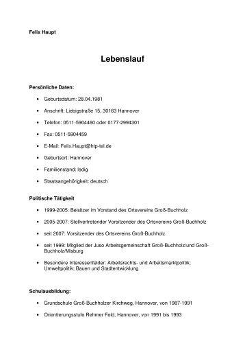 Lebenslauf - SPD Groß-Buchholz