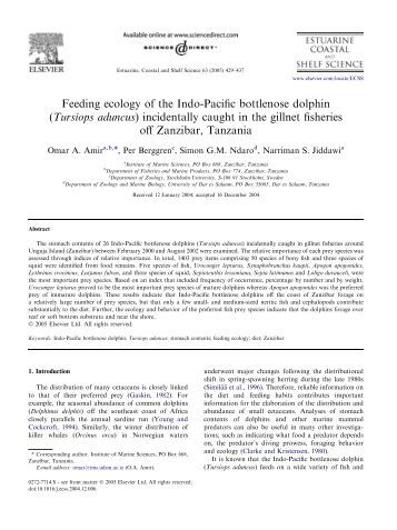 Feeding ecology of the Indo-Pacific bottlenose dolphin (Tursiops ...