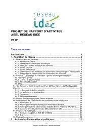 Rapport d'activités 2012 - Réseau IDée