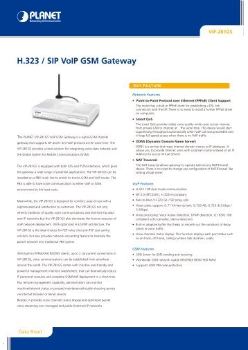 H.323 / SIP VoIP GSM Gateway - Planet