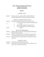 MHMH School of Nursing Alumni Association Bylaws