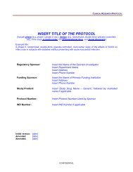 Clinical Research Protocol Template - Health Care Professionals