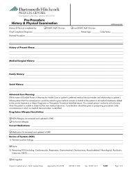 History & Physical Exam Form - Pre-procedure - Health Care ...
