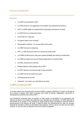 Mercredi 24 novembre 2010 Sommaire • Le CNPS veut ... - SLBC