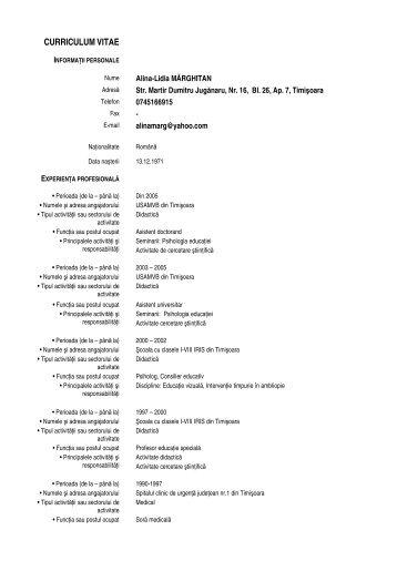 Alina Andreea Dragoescu Cv In Limba Romana Pdf
