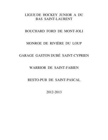 ligue de hockey junior a du bas saint-laurent bouchard ford de mont ...