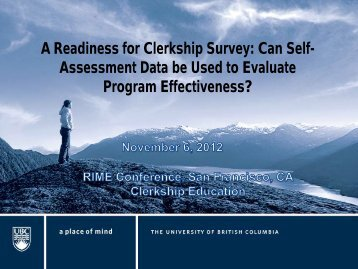 A Readiness for Clerkship Survey: Can Self- Assessment Data be ...