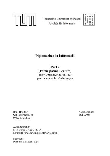 Diplomarbeit in Informatik ParLe (Participating Lecture)