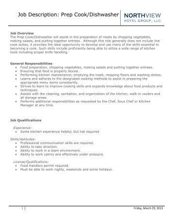 Job Description: Prep Cook/Dishwasher   Eagle Crest Resort  Prep Cook Job Description