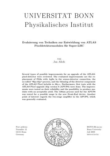 UNIVERSIT . . AT BONN Physikalisches Institut - Prof. Dr. Norbert ...
