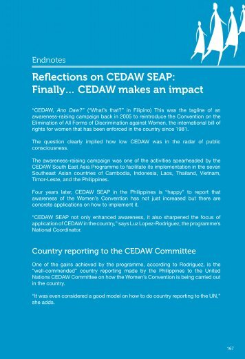Reflections on CEDAW SEAP - CEDAW Southeast Asia