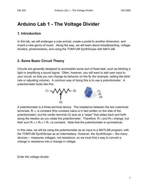 Arduino Lab 1 - The Voltage Divider