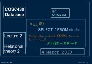 COSC430 Database 4 March 2013 Lecture 2 Relational theory 2