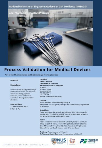 Process Validation For Medical Devices – NUS - NUSAGE ...