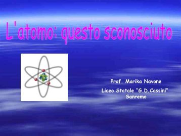 L'atomo - Dipartimento di Fisica