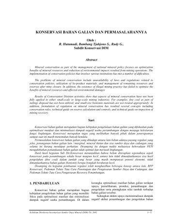 Konservasi Bahan Galian dan Permasalahannya - Pusat Sumber ...