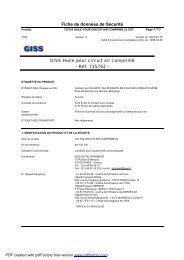Fiche de données de Sécurité GISS Huile pour circuit air comprimé ...