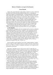 History of Statistics: an Aspect of the Situation Oscar Sheynin I ...