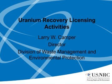 Uranium Recovery Licensing Activities