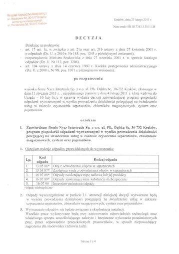 Decyzja - czyszczenie zbiorników - NYCZ INTERTRADE SP. z oo