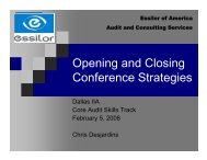 Opening and Closing Conference Strategies - IIA Dallas Chapter
