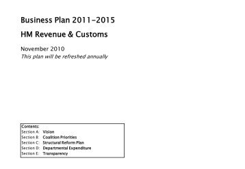 Business Plan 2011-2015 HM Revenue & Customs - Taxation