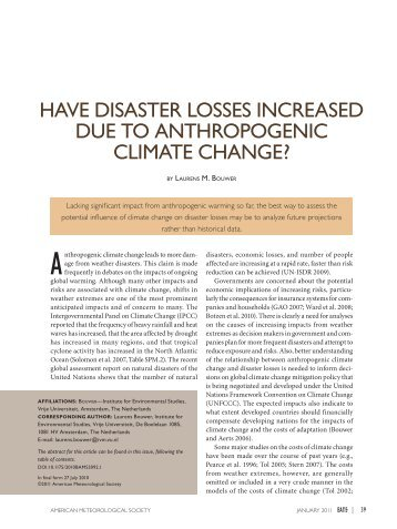 have disaster losses increased due to anthropogenic climate change?