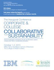 Sustainability Collaborative Booklet - Mason School of Business ...
