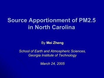 Source Apportionment of PM2.5 in North Carolina - MARAMA