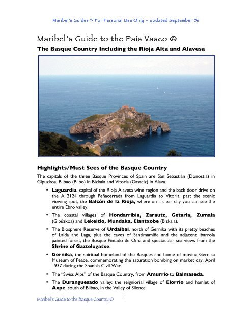 Maribel S Guide To The Basque Country Maribel S Guides For