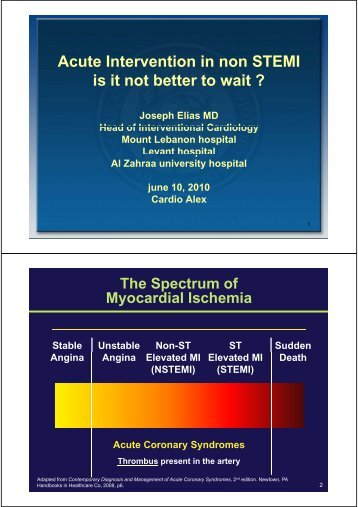 Acute Intervention in non STEMI is it not better to wait ?