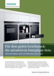 Für den guten Geschmack: die attraktiven Dampfgar-Sets. - Siemens