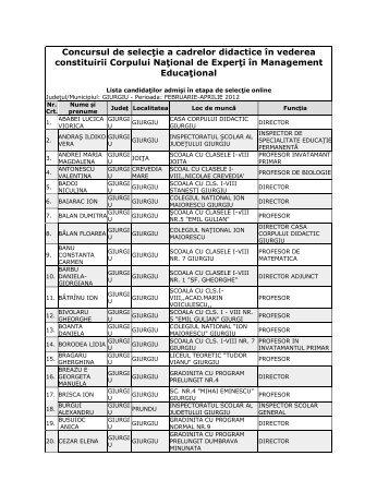 Lista candidaţilor admişi în etapa de selecţie online - Giurgiu