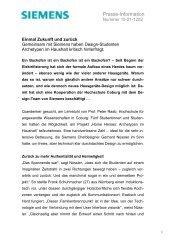 Presse-Information - Siemens Hausgeräte