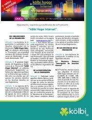 Condiciones Promoción kölbi hogar internet - Grupo ICE