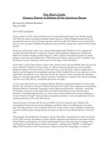 One Man's Castle: Clarence Darrow in Defense ... - Michael Bobelian