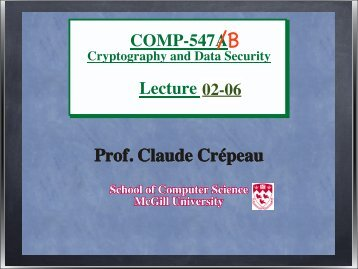 Course notes (chap. 1 Number Theory, chap. 2 ... - McGill University