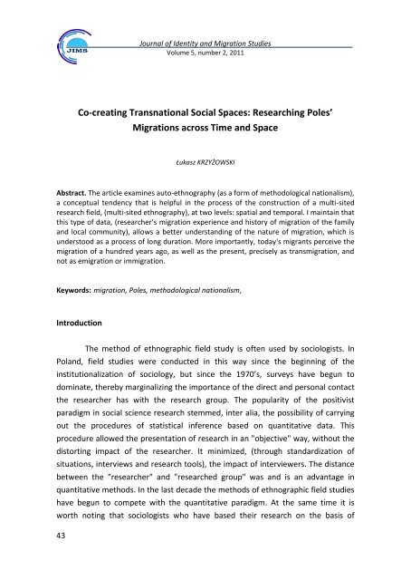 Co-creating Transnational Social Spaces - Research Centre on ...