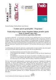 Programme Paris (2 mars 2013) - Accueil