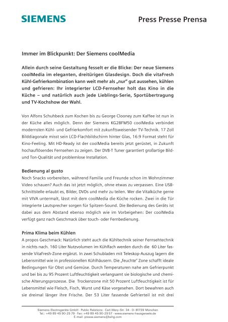 Press Presse Prensa - Siemens
